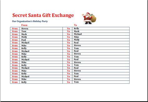 secret santa gift exchange list template excel templates