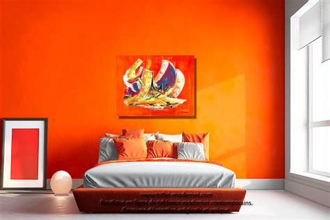 tableau chambre tableau orange abstrait format horizontal pour décoration
