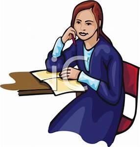 School Clip Art of a High School Girl Sitting in Class