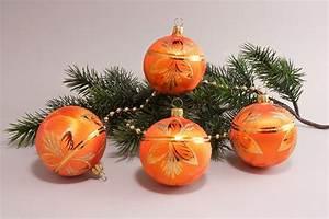 Weihnachtskugeln Aus Lauscha : 4 kugeln 8cm eisorange halbes blatt christbaumkugeln ~ Orissabook.com Haus und Dekorationen