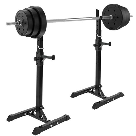 adjustable pair  barbell squat racks portable stand weight lifting bench press ebay