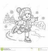 Coloring Skating Cartoon Outline Colorear Sports Het Della Schaatsen Ragazza Dibujos Pagina Winter Profilo Coloritura Pattinare Raad Pensionair Blauw Inschepen sketch template