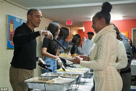 barack obama and serve thanksgiving dinner to homeless veterans daily mail