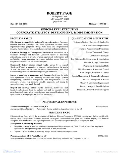Executive Cv by Senior Level Executive Curriculum Vitae Templates At
