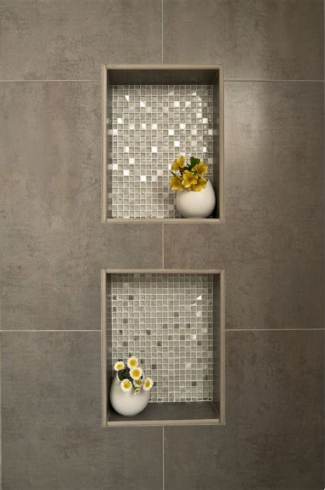 Fliesen Design by Dusche Nische Fliesen Anthrazit Mit Mosaik Metallic Effekt