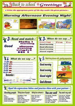 parts   day english worksheets  kids