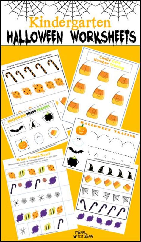 free kindergarten worksheets mess for less 318   kindgergarten halloween worksheets
