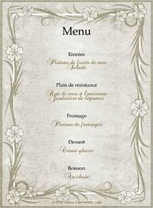 Modele De Menu A Imprimer Gratuit : menu de f te gratuit imprimer cadre fleuri a ~ Melissatoandfro.com Idées de Décoration