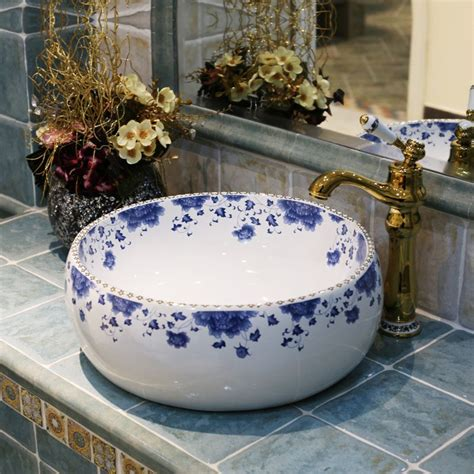 hand painted bathroom sinks blue and white europe vintage style lavobo ceramic washing