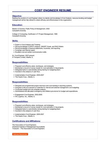 My Resume Cost by Sle Cost Engineer Resume