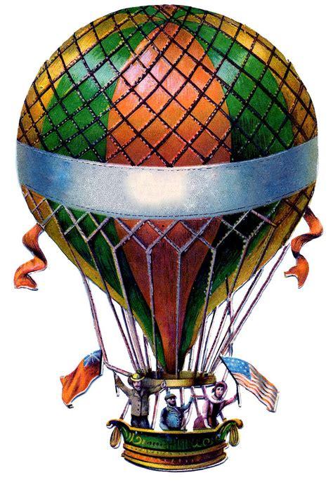 antique graphic hot air balloon steampunk