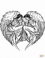 Angels Coloring Pages Printable Heart Tags Domain Paper Supercoloring Categories sketch template