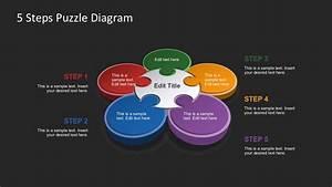 Five Petal Flower Template Free 5 Steps Puzzle Diagram For Powerpoint