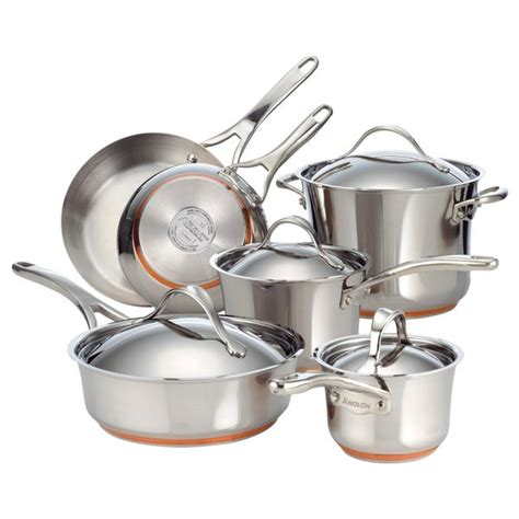 shop anolon nouvelle copper stainless steel  piece cookware set  shipping today