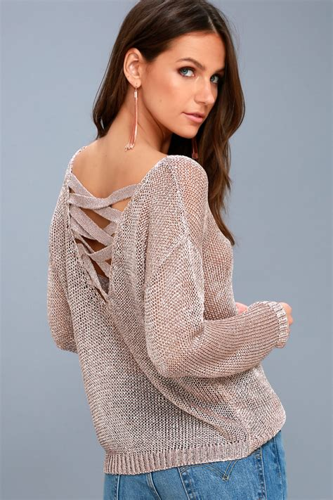 Dazzling Rose Gold Top Sheer Sweater Metallic Sweater
