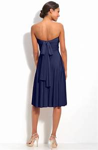 Hot Sale Navy Blue Empire Strapless Pleated Knee Length ...