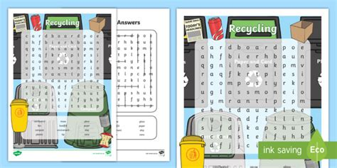 * New * Recycling Word Search  Achassk033 Year 1, 2, Local Place, Location