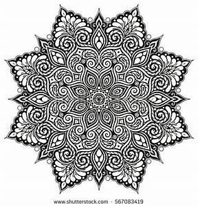 Doodle Floral Vector Pattern Mandalas Flowers Stock Vector