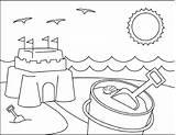 Coloring Sandcastle Scenes Activities sketch template