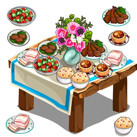 goo.gl/hravdf  subscribe to the cartoon network uk. Festive Table With Delicious Food And Flowers Stock Vector ...