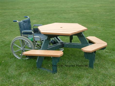 recycled plastic ada picnic tables hexagon style outdoor