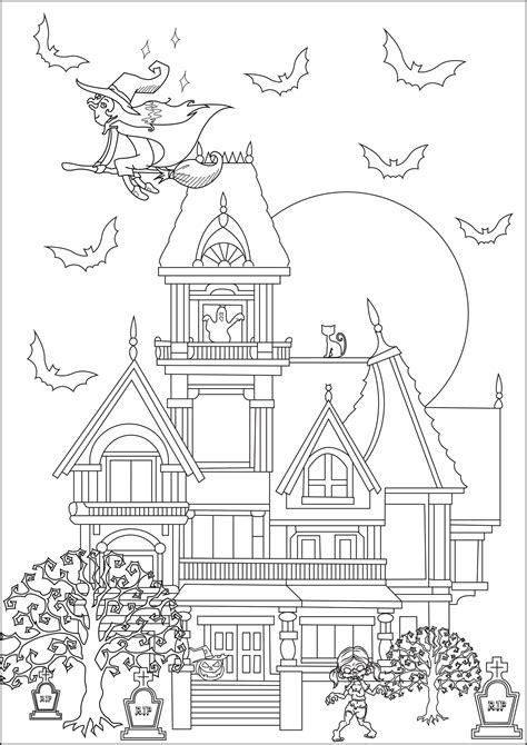 maison hantee halloween adult coloring pages