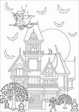 Mansion Haunted Coloring Halloween Zombie Pages Maison Witch Frightening Adult Adults Hantee sketch template