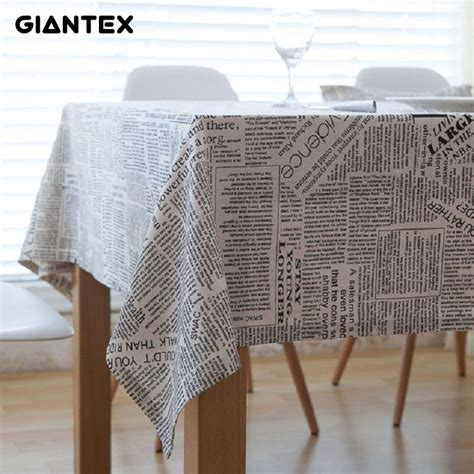 giantex retro newspapers pattern decorative table cloth cotton linen tablecloth dining table