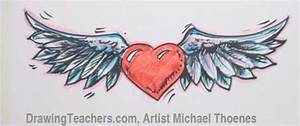 Heart with Wings Drawing