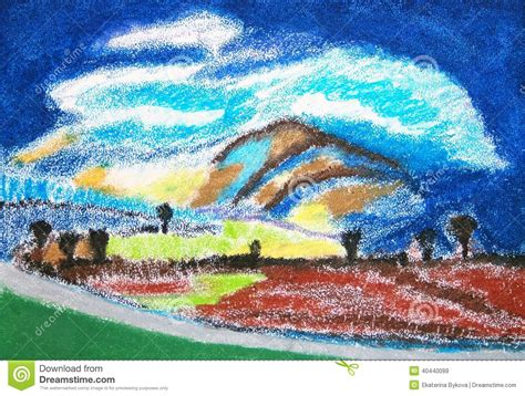 landscape abstract pastels colorful drawing stock