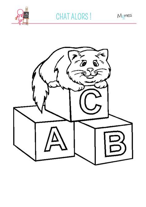 jeux de ranger les chambre coloriage assis sur des lettres momes