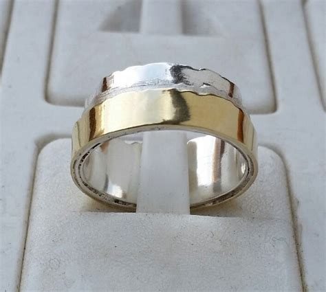 band sterling silver   gold wedding ring handmade