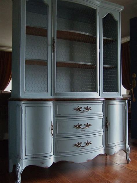 Lightly Distressed French Country Hutch In A French Greyblue