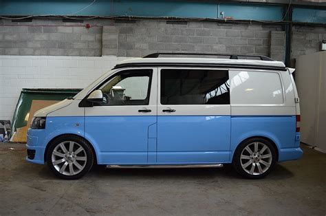 tone vw camper conversion blue white  camper
