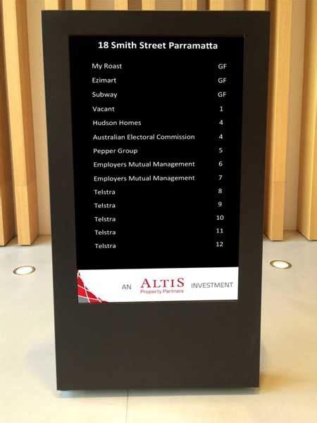 freestanding digital directory board installed