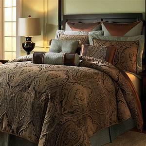 King size brown sage stripe bedspread king size bedding for Bedroom comforter sets king