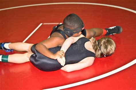 Young Boys Wrestling/hammerlock Editorial Image
