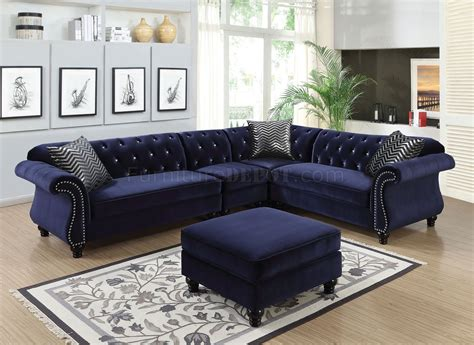 Sectional Sofas With Ottoman by Jolanda Ii Sectional Sofa Cm6158bl In Blue Fabric W Options