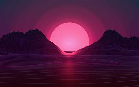 sunset  pink sun abstract landscape neon