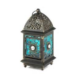 jeweled blue glass lantern wholesale at koehler home decor