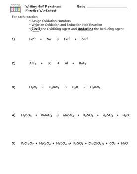 Redox Writing Half Reactions Practice Worksheet By The Scientific Classroom