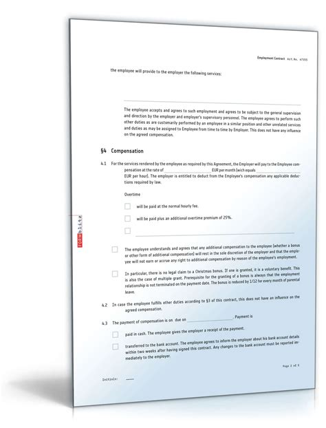 arbeitsvertrag deutsch und englisch vorlage zum