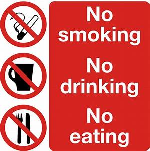 Safety Sign No Smoking No Drinking No Eating 300 x 300mm ...