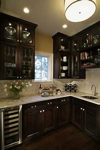 Traditional, Dark, Wood, Kitchen, Design, With, Glass, Cabinetry, -, Traditional, -, Kitchen, -, Denver
