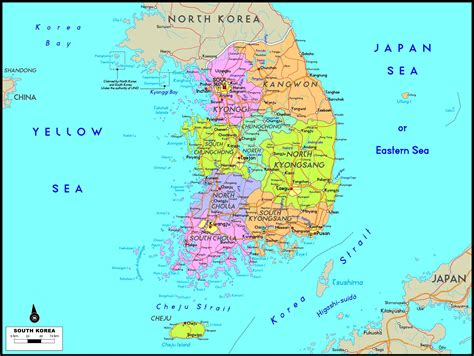 south korea maps printable maps  south korea