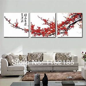 Red traditional chinese flower canvas wall art for living
