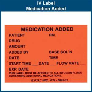 iv label medication added 175quot x 25quot 1000 labels With iv medication labels