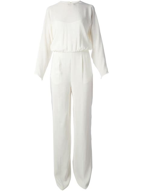 white jumpsuit with sleeves valentino sleeve jumpsuit in white lyst