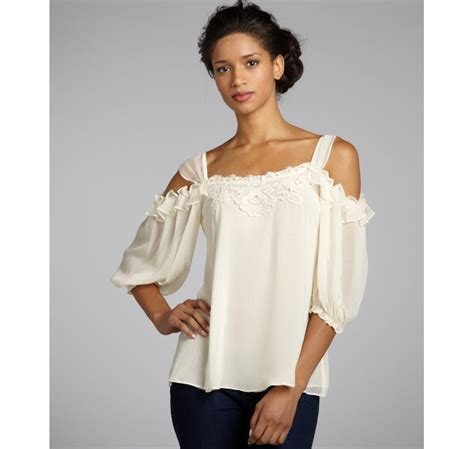 nanette lepore sheer silk chiffon lace and ruffle cutout shoulder secret blouse in beige