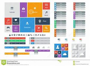 Flat Web Design Elements, Buttons, Icons. Templates For ...